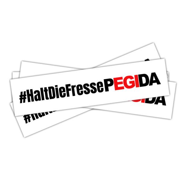 """Aufkleber """"#HaltDieFressePegida"""" (14,8cm x 3,5cm)"""