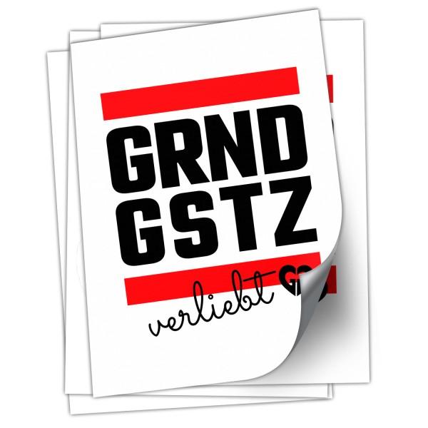 """Aufkleber """"GRNDGSTZ verliebt"""" (DIN A7)"""