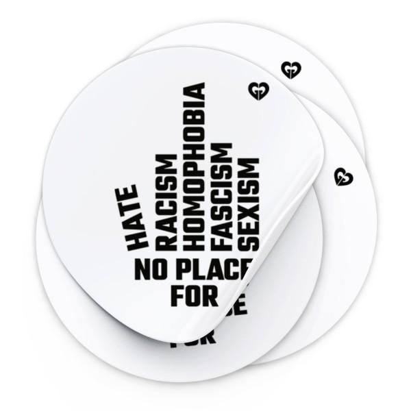 "Aufkleber ""NO PLACE"" (Ø 9,5 cm)"